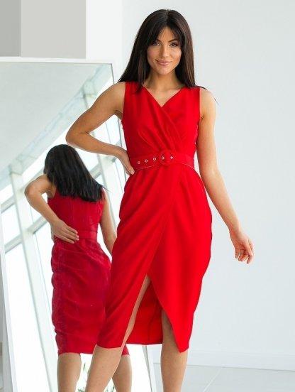 Красное платье на лето, миди, фото 1