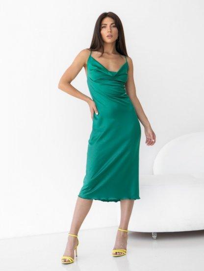 Легкое изумрудное летнее платье, фото 1