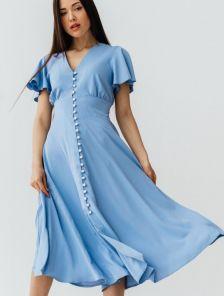 Летнее голубое нарядное платье на короткий рукав миди длины