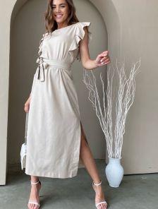 Летнее льняное платье-миди прямого края с поясом и разрезами по бокам