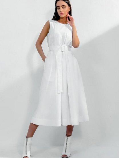 Короткое хлопковое светлое свободное платье-трапеция, фото 1