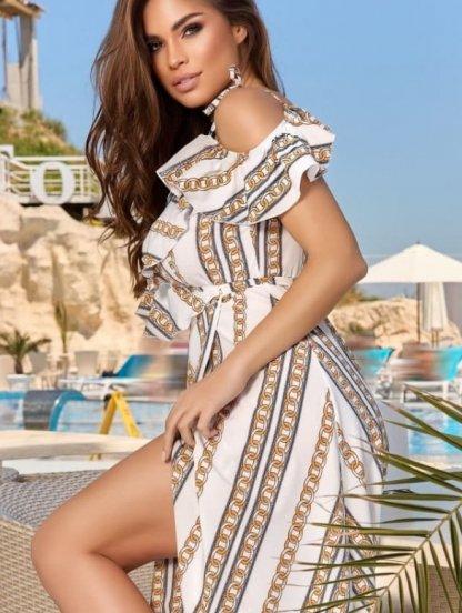 Светлое летнее платье миди большого размера, фото 1