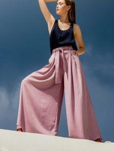 Хлопковые брюки-юбка с высокой талией