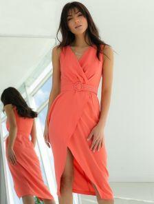 Коралловое платье на лето, миди