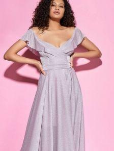 Нарядное вечернее платье в пол с воланами