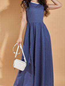 Легкое длинное платье из льна на лето без рукавов
