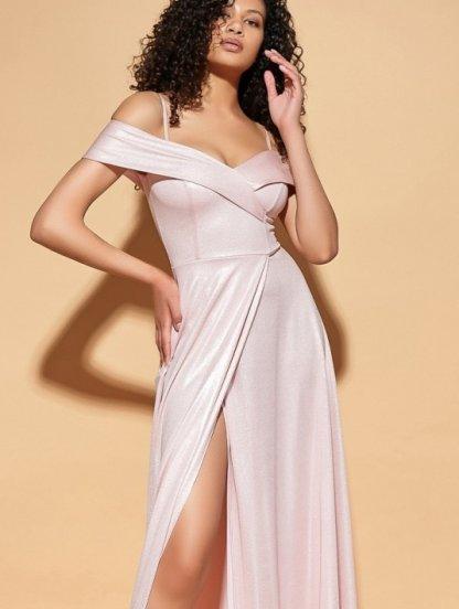 Светлое длинное блестящее вечернее платье на короткий рукав, фото 1