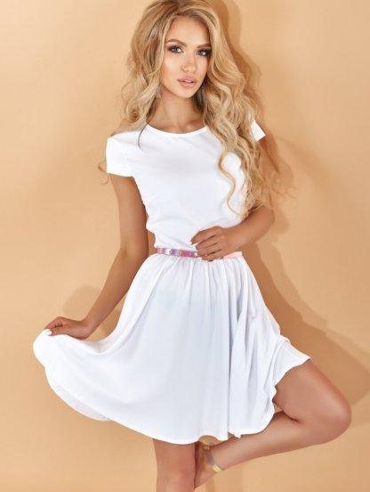 Белое короткое летнее платье с коротким рукавом, фото 1