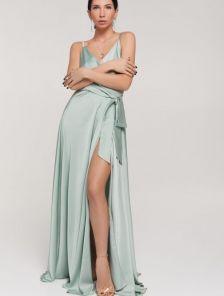Нарядное длинное мятное шелковое платье