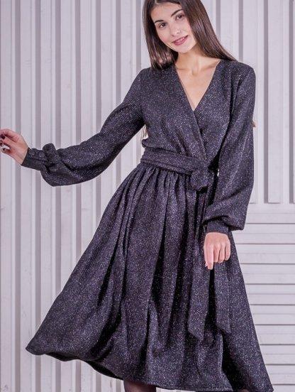 Нарядное расклешенное черное блестящее платье на длинный рукав, фото 1