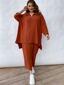 Шифоновый повседневный женский брючный костюм кирпичного цвета