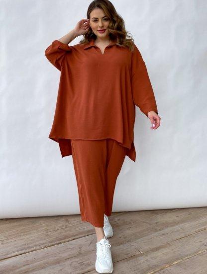Шифоновый повседневный женский брючный костюм кирпичного цвета, фото 1