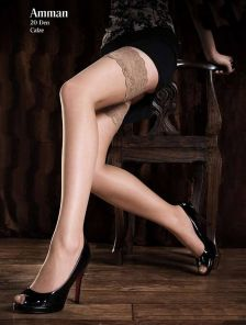 Красивые женские чулки с широкой кружевной резинкой, 20 ден