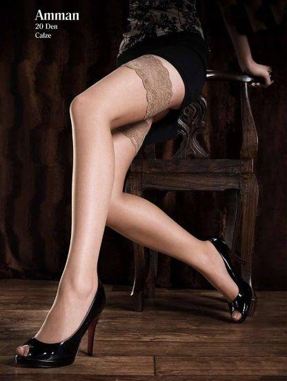Красивые женские чулки с широкой кружевной резинкой, 20 ден, фото 1