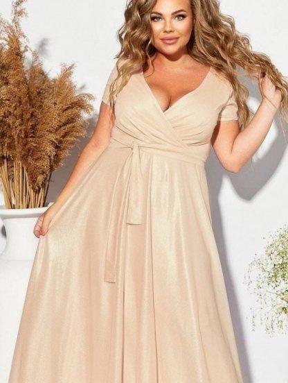 Вечернее шелковое платье золотистого цвета большого размера в пол под пояс, фото 1