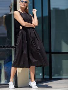 Короткое летнее черное хлопковое платье на лето