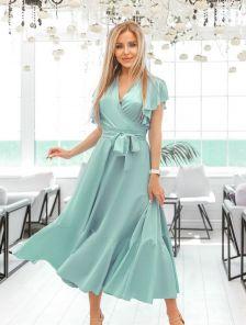 Летнее оливковое платье из евробенгалина с юбкой -солнце, оборкой и рукавами-крылышками