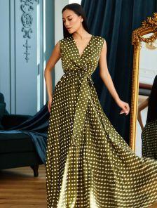 Шелковое платье в горохи, макси-длины,с юбкой -солнце