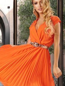 Летнее кораловое платье с юбкой гофре