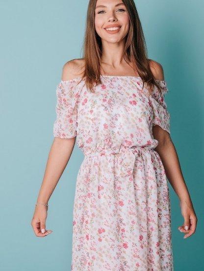 Легкое летнее шифоновое платье с цветочным рисуком и открытыми плечами, фото 1