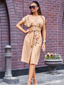 Льняное бежевое платье-халат с оригинальным широким поясом