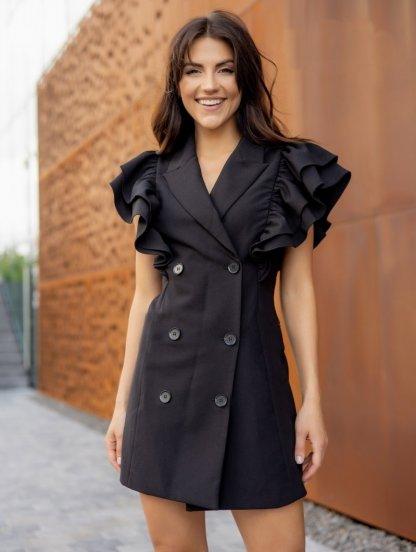 Черное платье-пиджак с пышными воланами на запах, фото 1