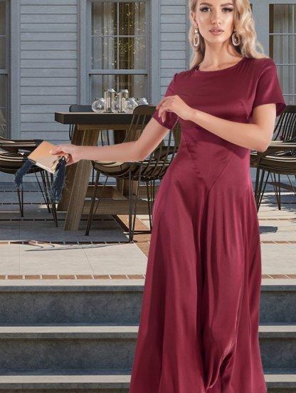Длинное шелковое платье бордового цвета, фото 1