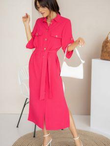 Летнее стильное платье-рубашка малинового цвета миди длины
