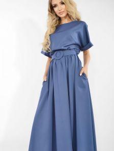 Летнее платье макси-длины с поясом цвета джинс