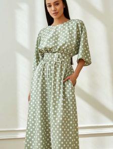 Летнее платье в горохи, макси-длины, с поясом, цвет оливка