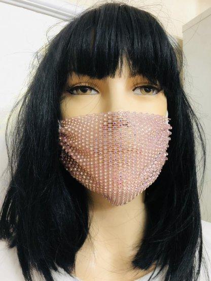 Розовая маска с камушками, фото 1