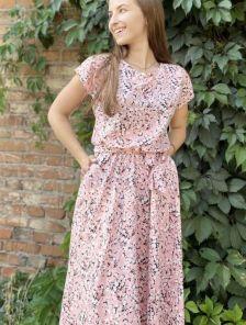 Летнее штапельное розовое платье с цветочным принтом