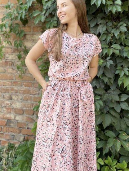 Летнее штапельное розовое платье с цветочным принтом, фото 1