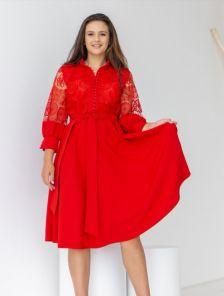 Красное нарядное платье миди с красивыми рукавами
