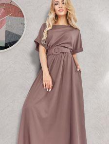 Летнее платье макси-длины с поясом коричневого цвета