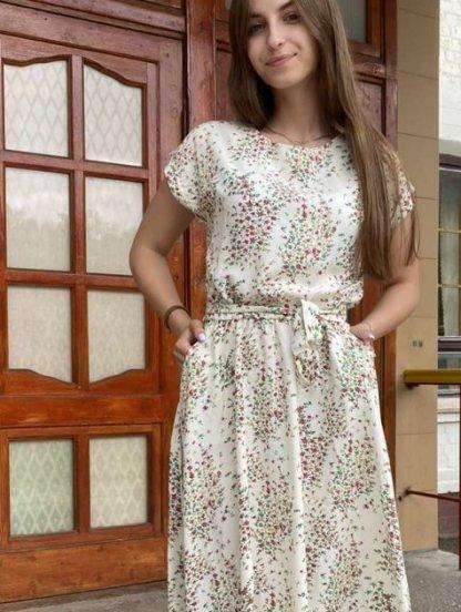 Летнее штапельное платье с цветочным принтом, фото 1