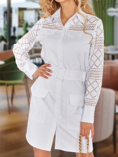 Белое платье-рубашка с поясом и карманами, фото 1