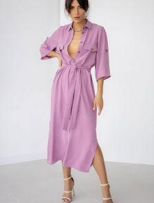 Летнее офисное стильное платье-рубашка миди длины