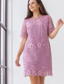 Летнее светлое кружевное платье с коротким рукавом