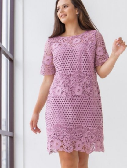 Летнее светлое кружевное платье с коротким рукавом, фото 1