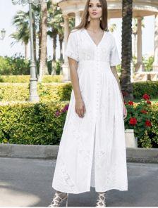 Платье с геометрическими мотивами из лёгкого высококачественного хлопка длинное