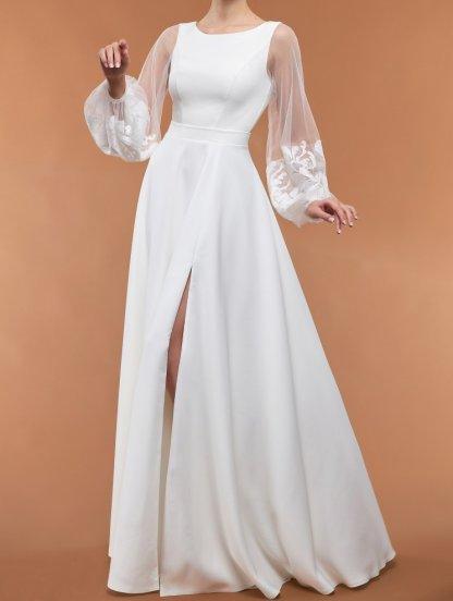 Белое вечернее платье с воздушными рукавами и разрезом, фото 1