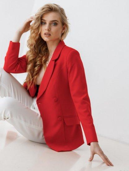 Стильный женский пиджак красного цвета, фото 1