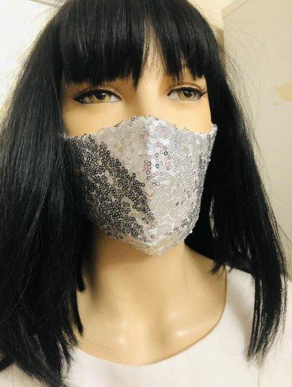Светлая серебристая маска с паетками, фото 1