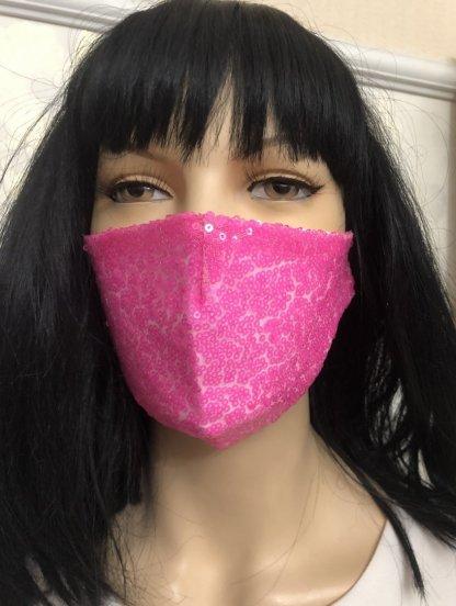 Ярко-розовая маска с паетками, фото 1