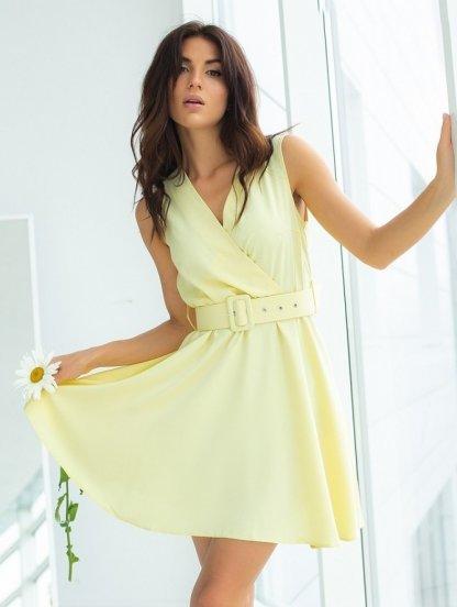 Желтое короткое платье на лето, фото 1