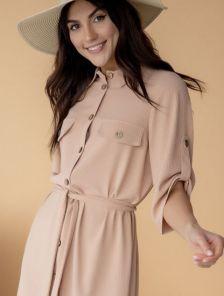Летнее стильное платье-рубашка бежевого цвета, длины миди