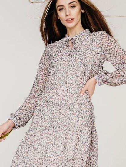 Летнее светлое платье с абстрактным разноцветным принтом, фото 1