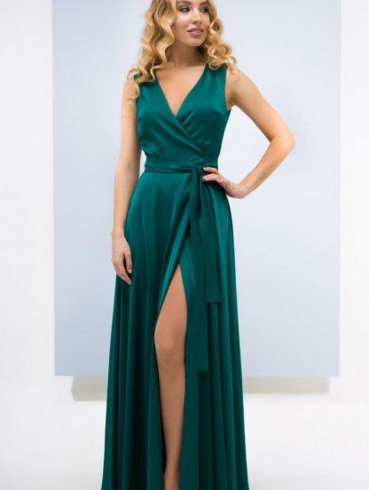 Зеленое легкое шелковое платье в пол, фото 1