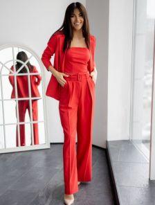 Современный женский красный брючный костюм-тройка